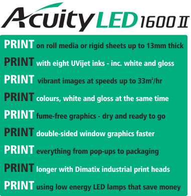 Acuity LED 1600 UV printer - Specifications